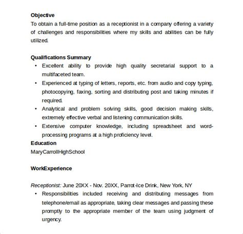 Words For Receptionist Resume Sle Receptionist Resume 9 Free Documents In