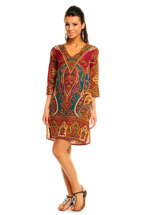 W Tribal Maroon womens tribal maroon midi kaftan kimono tunic dress pack of 10