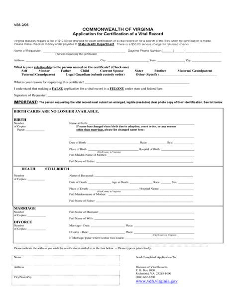 Virginia Records Application For Certification Of A Vital Record Virginia Free
