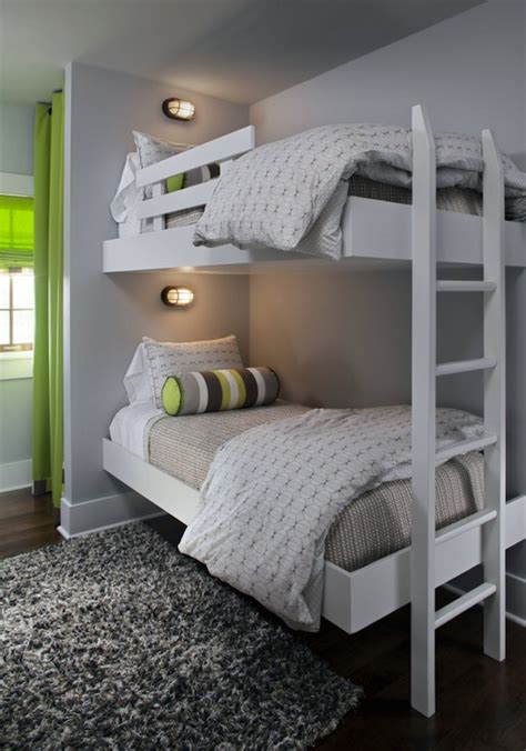 Grey Bunk Beds Floating Bunk Beds Contemporary Boy S Room Summer House Style
