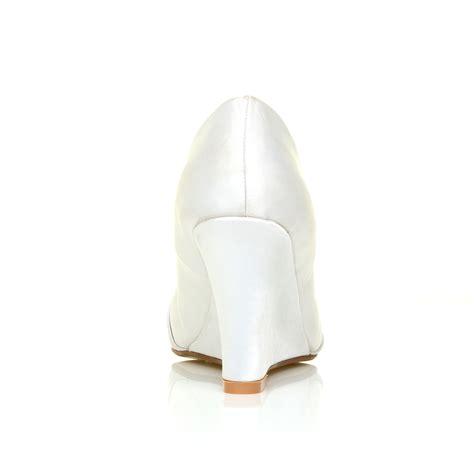 Satin Bridesmaid Shoes by Womens Satin Wedding Shoes Bridesmaid Wedge Heel