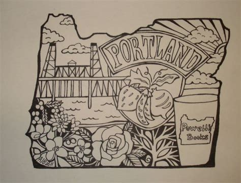 portland oregon tattoo powell s books portland oregon outline drawing pen on