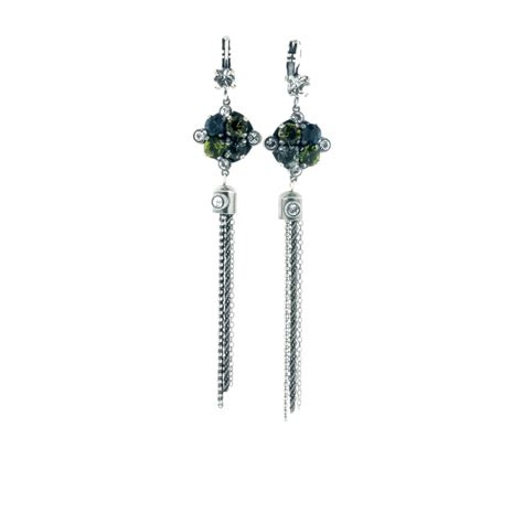 Tassel Earring In Silver bulatti tassel drop earrings in silver indigo swarovski