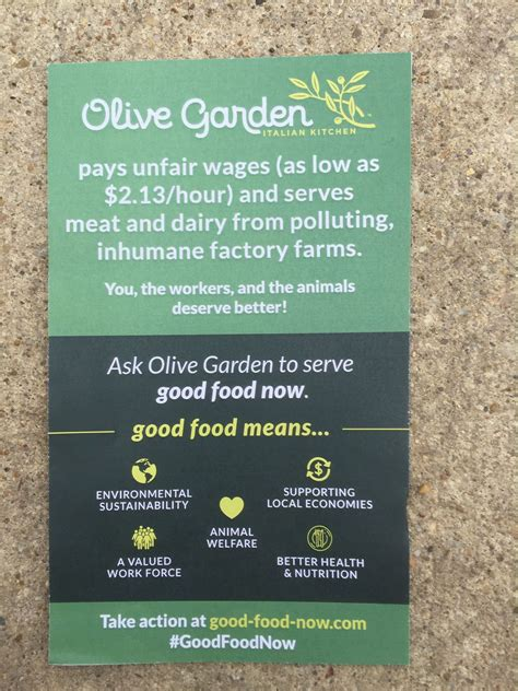 Olive Garden Wages by Olive Garden Targeted In Minimum Wage Animal Welfare