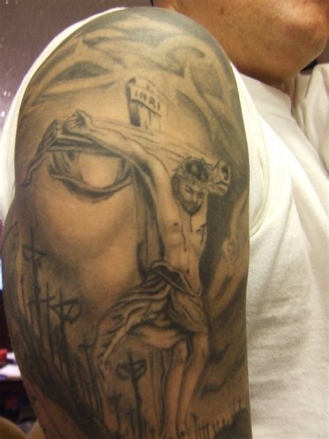 jesus face cross tattoo jesus inside of picture
