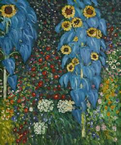 Gustav Klimt Flower Garden Farm Garden With Sunflowers By Gustav Klimt Klimt Paintings And