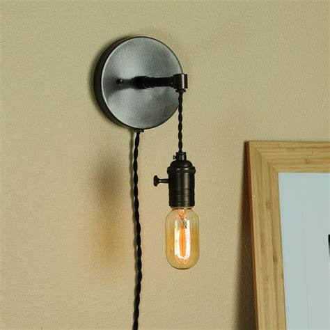 Edison Bulb Wall Sconce Industrial Wall Sconce W Edison Light Bulb And Antique Style Cloth