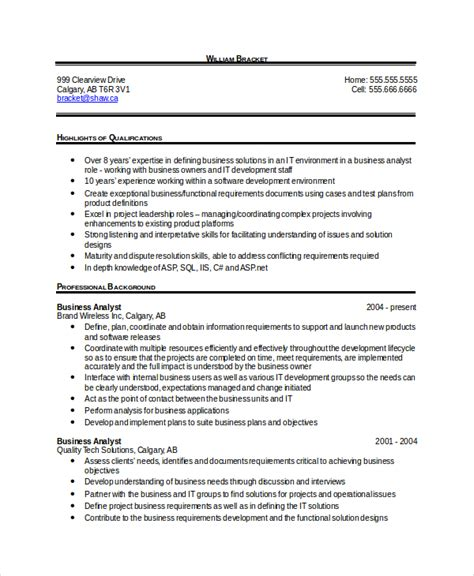 Free Sle Resume For Business Analyst sle resume business analyst 28 images 28 sle resume