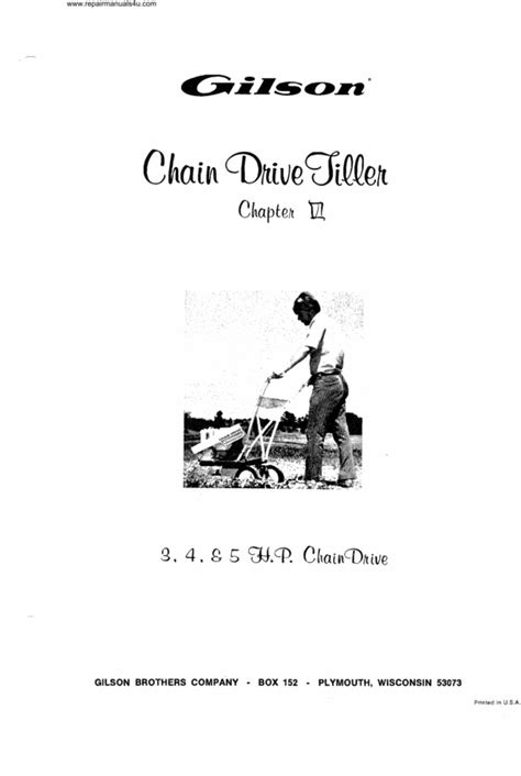 vintage gilson chain drive tiller manual 3 4 5 hp