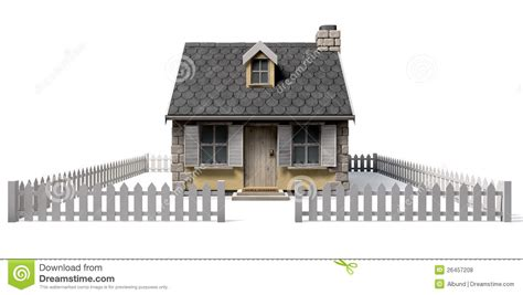 House Plans For Small Cottages Quaint Cottage House With Garden And Picket Fence Royalty