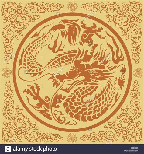 oriental design ancient chinese dragon on stock photo yellow chinese dragon pattern stock vector art