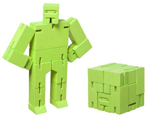 1774 Micro Luggage Set cubebot micro articulated wooden robot or cube h