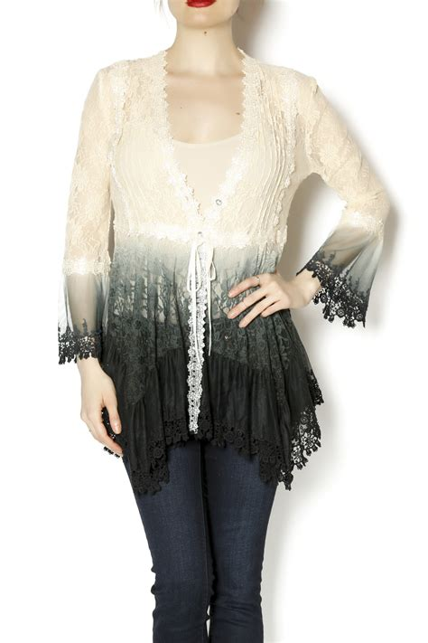 Ombre Jaket Lace Prada talk of the walk ombre lace top from atlantic city shoptiques