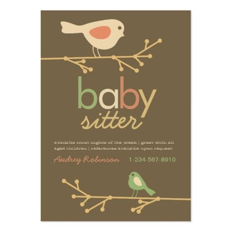 baby business card template mod birds baby sitter business card templates zazzle