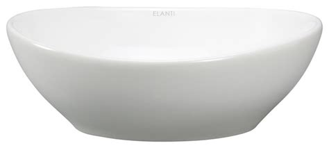White Bathroom Bowl Sinks Porcelain Vessel Oval Bowl Sink White Contemporary