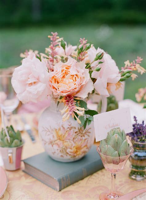 flower design vintage weddings peach and pink flowers in vintage vase elizabeth anne