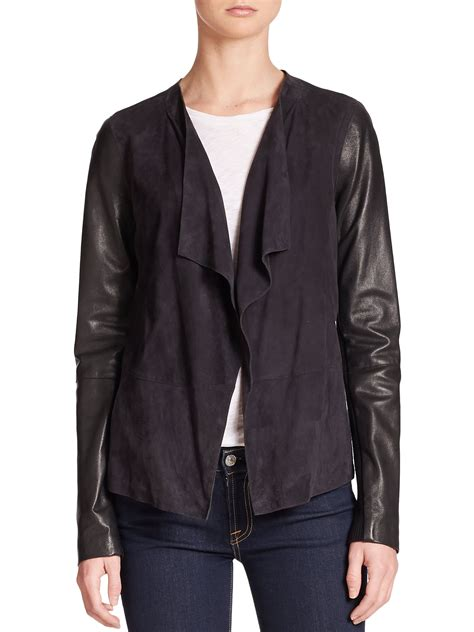 vince draped leather jacket lyst vince draped leather detail knit jacket in black
