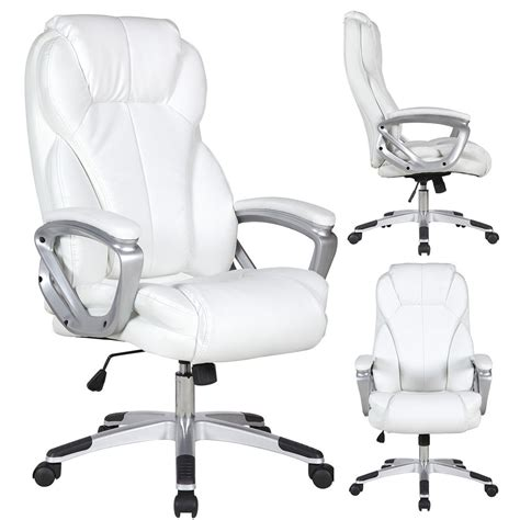 White Office Desk Chair Executive Manger Pu Leather Office Chair White High Back Desk Conference Room Ebay