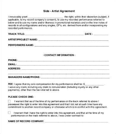 side artist agreement template artist agreement template 9 free word pdf documents