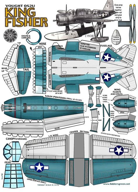 Aircraft Papercraft - vought os2u kingfisher silhouette cut printables