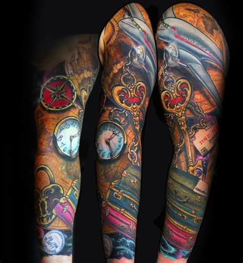suitcase tattoo designs travel themed sleeve tattoos lifehacked1st