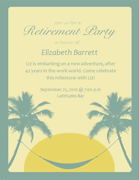 classy retirement party invitations template with tropical