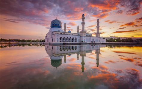 background kota full hd kota kinabalu mosque desktop wallpaper download