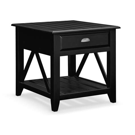 plantation cove coastal black end table value city furniture