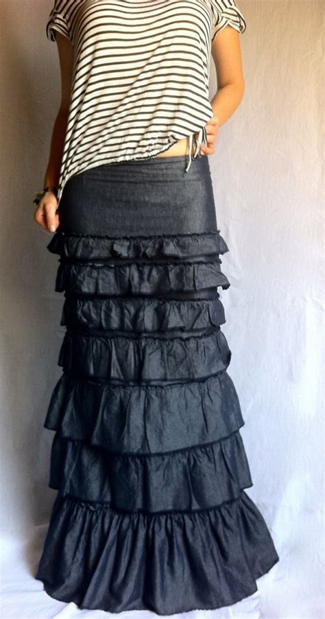 Ruffled Skirt ruffles layered skirt denim bohemian maxi skirt ruffled