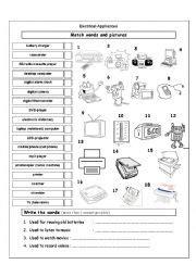Kitchen Appliances Worksheet Esl Worksheets For Beginners Electrical Appliances