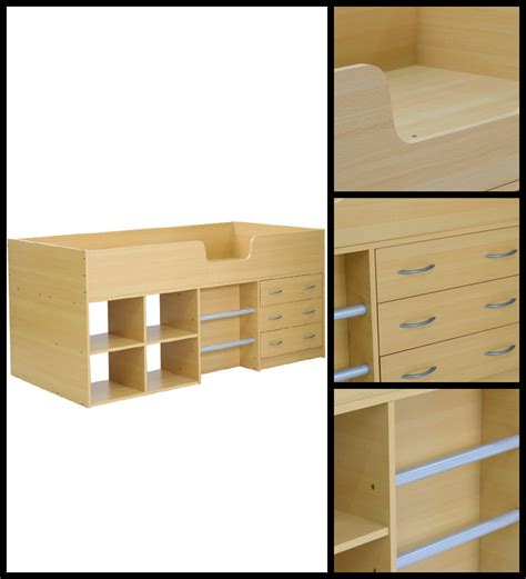 The Bed Storage Shelf by Bed Wtih Storage Shelf In Beech Finish By Mintwud By