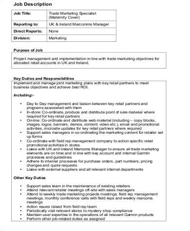 trade marketing description 9 marketing specialist description sles sle