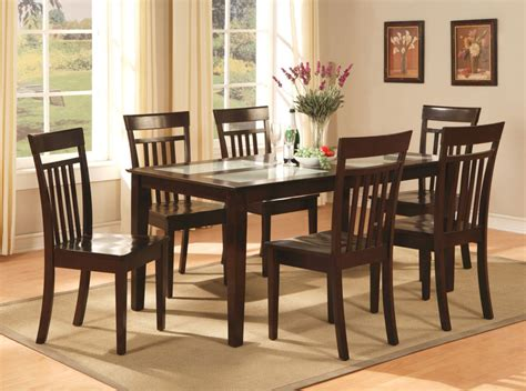 Kitchen Tables Furniture by 7 Pc Dinette Kitchen Dining Room Set Table With 6 Chairs In Cappuccino Ebay