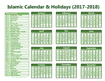 Calendar 2018 And Arabic Islamic Calendar With Muslim Holidays 2017 2018