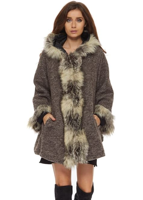 swing fur coat monton brown swing coat brown faux fur coat