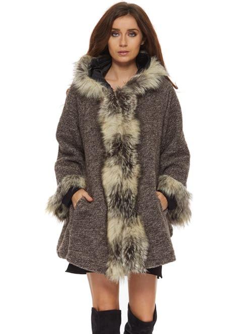 faux fur swing jacket monton brown swing coat brown faux fur coat