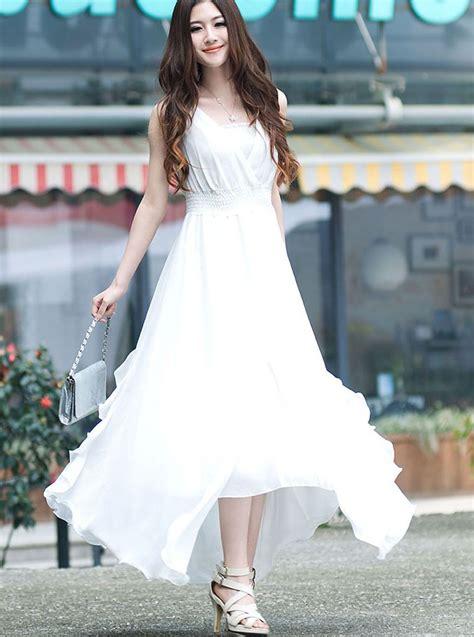 Dress Dress Korea Putih White 1 brand new v neck asymmetrical hem white maxi dress