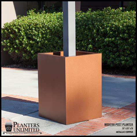 L Post Planter by Modern Square Fiberglass Post Planter 30in L X 30in W X 24in H