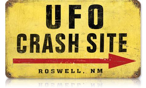 ufo crash site vintage metal sign