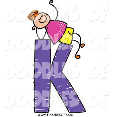 K Letter Doodle vector clipart of a doodled boy relaxing on capital letter