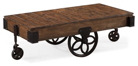 industrial style rectangular cocktail table with casters