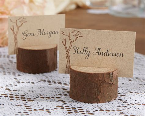 wood place card holders wedding rustic real wood place card photo holder