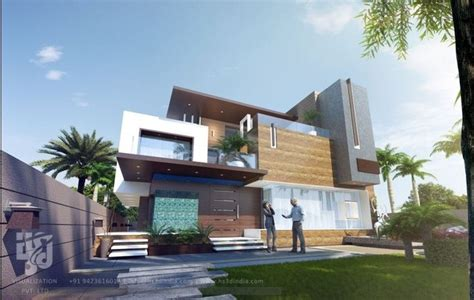 modern bungalow elevation 3d modern bungalow elevation elevation day rendering by hs