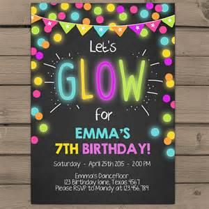 neon glow party invitation glow birthday invitation glow in
