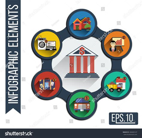 corporation bank house loan infographic illustration integrated icons various types