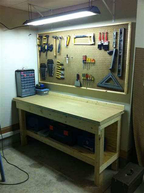 diy garage bench workbench workshop i setup pinterest