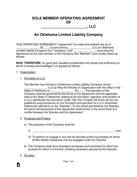 Free Oklahoma Single Member Llc Operating Agreement Form Word Pdf Eforms Free Fillable Forms Llc Ownership Agreement Template