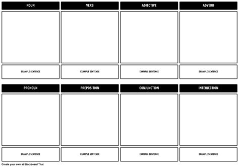 parts of speech storyboard template storyboard