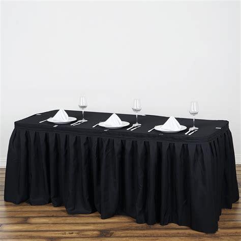 black polyester table skirt 17ft pleated polyester table skirt black efavormart