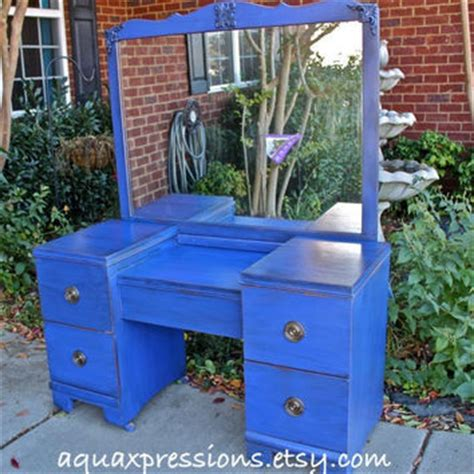 cobalt blue vanity dresser from aquaxpressions on wanelo